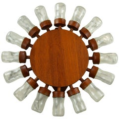 Vintage Teak Digsmed 16 Jar Spice Wheel Rack, Danish Retro 1960s
