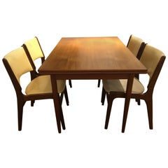 Vintage Teak Dining Table and 4 Dining Chairs by Henning Kjærnulf