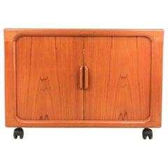 Vintage Teak Dyrlund Media Tambour Cabinet Midcentury Vintage