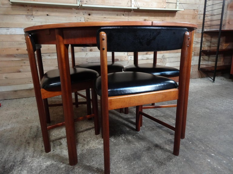 British Vintage Teak Foldout Dining Table 4 Chairs by Tom Robertson for McIntosh, 1960 For Sale