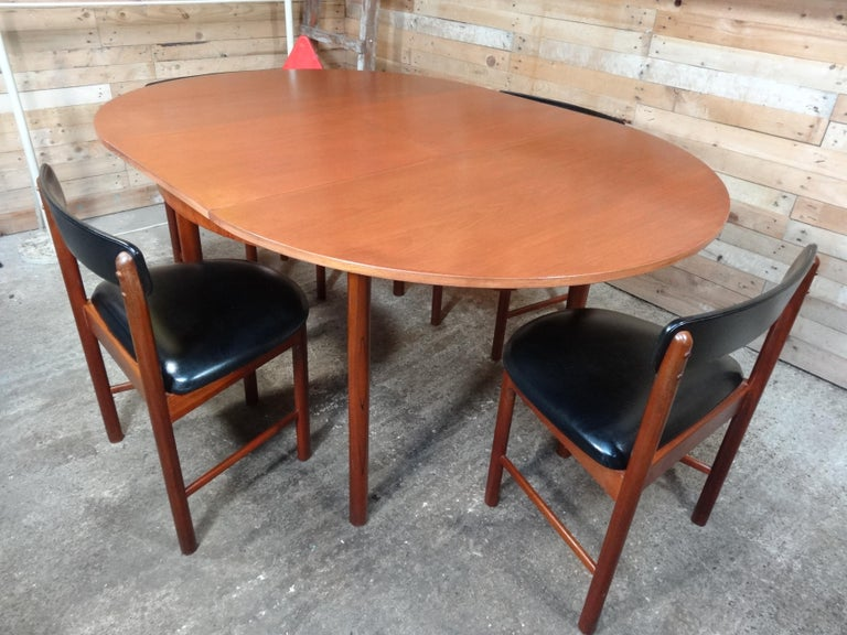 20th Century Vintage Teak Foldout Dining Table 4 Chairs by Tom Robertson for McIntosh, 1960 For Sale