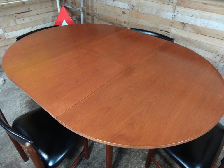 Vintage Teak Foldout Dining Table 4 Chairs by Tom Robertson for McIntosh, 1960 For Sale 1