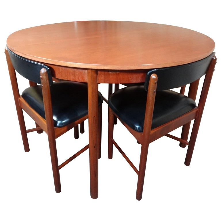 Vintage Teak Foldout Dining Table 4 Chairs By Tom Robertson For Mcintosh 1960