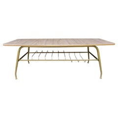 Vintage Teak Formica and Metal Coffee Table with Magazine Rack, 1960s