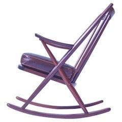 Vintage Teak Frank Reenskaug Spindle Back Rocking Chair Model 182. Denmark, 1958