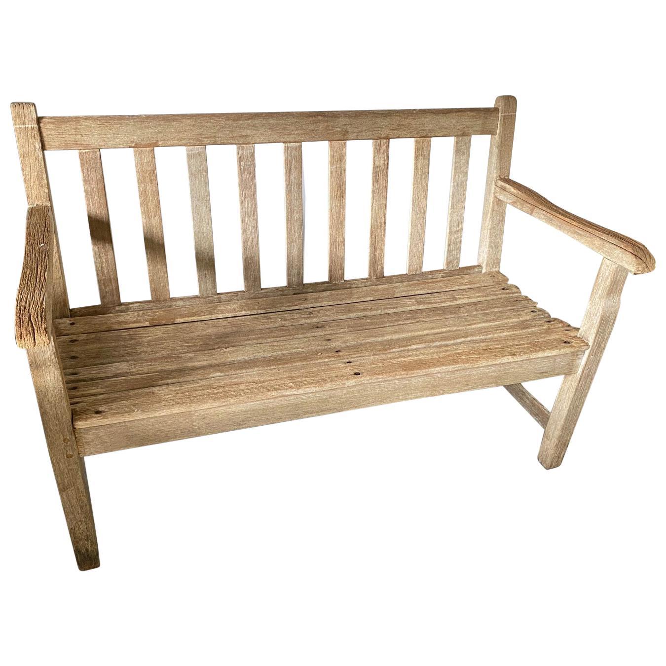 Vintage Teak Garden Bench with Arms