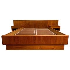 Vintage Teak Queen Size Platform Bed with Floating Nightstands
