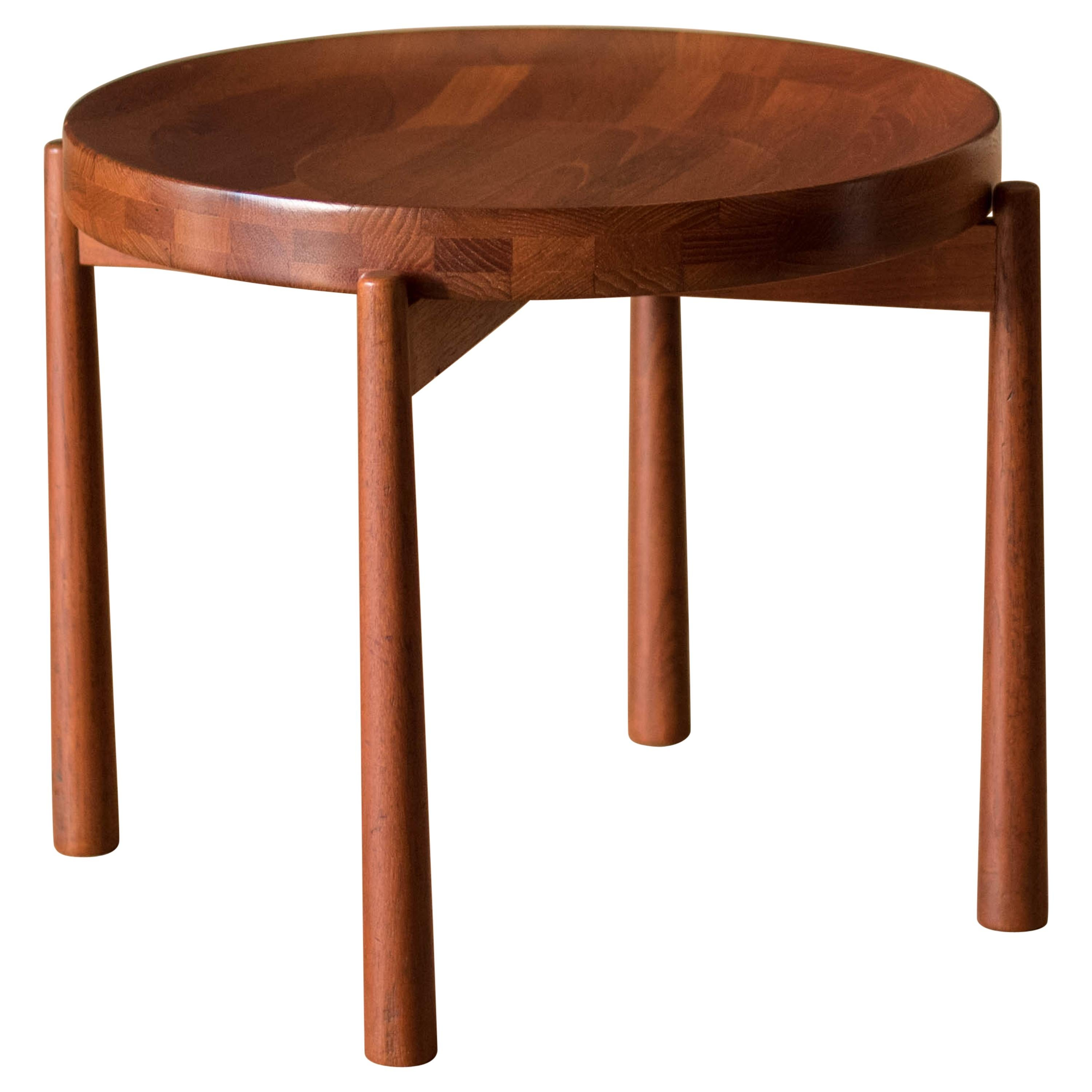 Vintage Teak Reversible Tray End Table by Dux