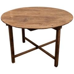 Vintage Teak Round Table / Farm Table from Burma, Mid-20th Century