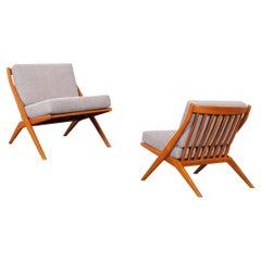 "Vintage Teak ""Scissor"" Lounge Chairs by Folke Ohlsson for Dux"
