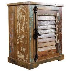 Vintage Teak Shutter-Fronted Bedside Cabinet, 20th Century