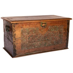 Vintage Teak Storage Chest with Carved Design from Java, Mid-20th Century