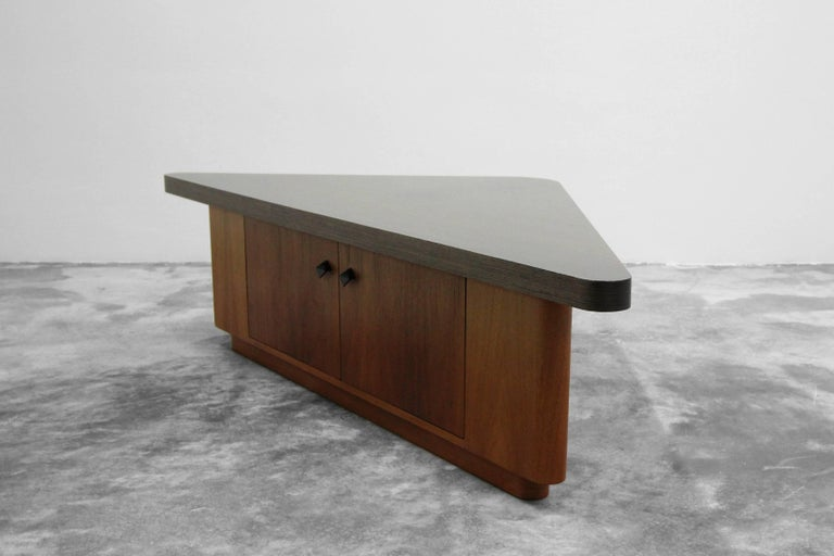 Post-Modern Vintage Teak Triangular Low Console Table Cabinet with Zebrawood Laminate Top For Sale