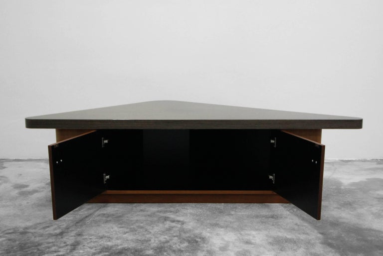 Vintage Teak Triangular Low Console Table Cabinet with Zebrawood Laminate Top In Excellent Condition For Sale In Las Vegas, NV