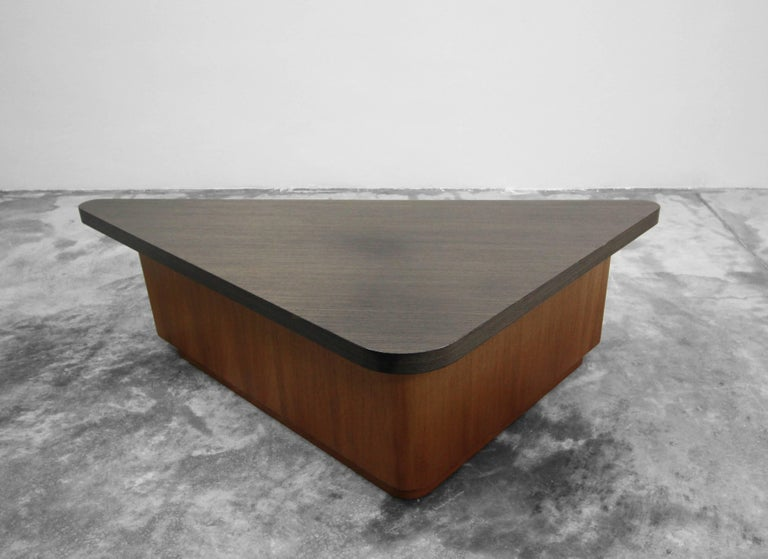 Vintage Teak Triangular Low Console Table Cabinet with Zebrawood Laminate Top For Sale 1