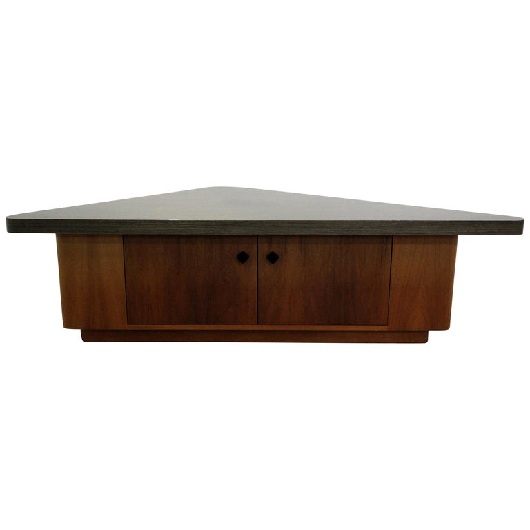 Vintage Teak Triangular Low Console Table Cabinet with Zebrawood Laminate Top For Sale