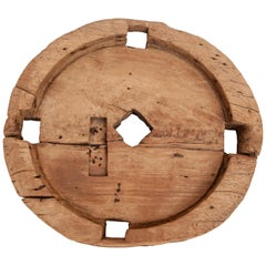 Vintage Teak Wheel, Early to Mid-20th Century, Java, Indonesia