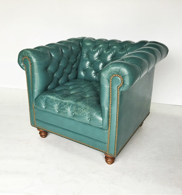 Astonishing Vintage Teal Tufted Chesterfield Lounge Chairs Download Free Architecture Designs Scobabritishbridgeorg