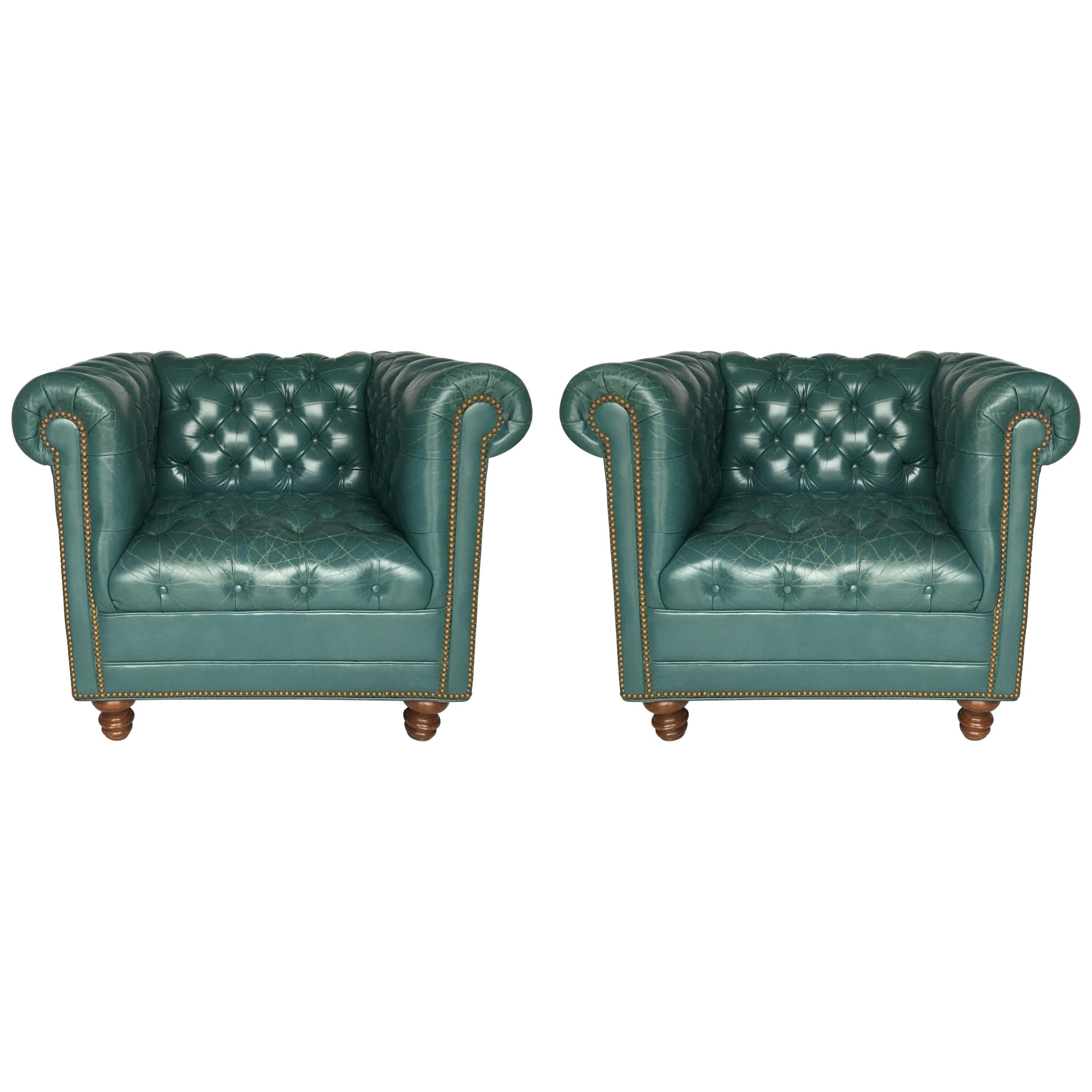 Vintage Teal Tufted Chesterfield Lounge Chairs