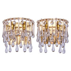 Vintage Teardrop Wall Sconces Crystal Glass & Brass, 1960s