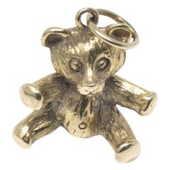 Vintage Teddy Bear Charm 14 Karat Yellow Gold Solid Heavy Toy Charm