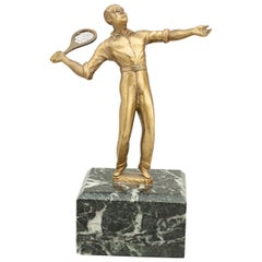 Vintage Tennis Figure, Statue in Brass on Plinth