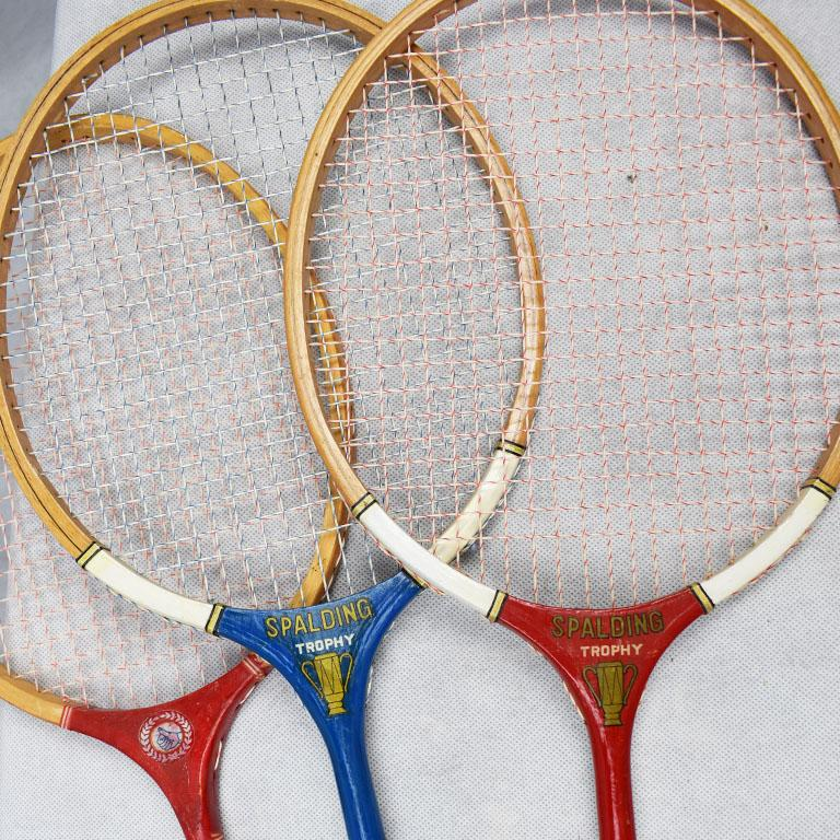American Classical Vintage Tennis Rackets in Red White and Blue Set of 3 For Sale