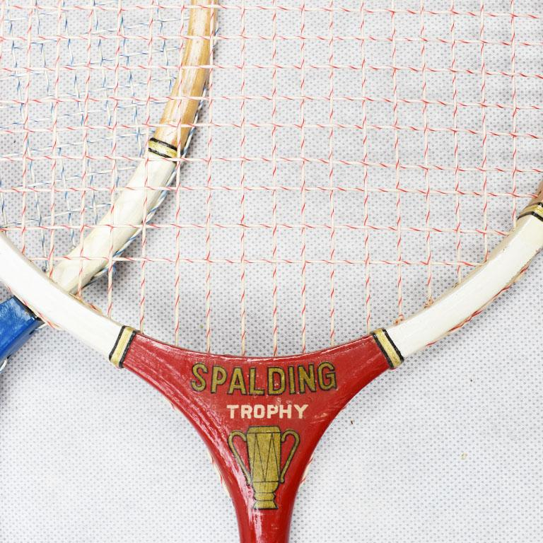 American Vintage Tennis Rackets in Red White and Blue Set of 3 For Sale