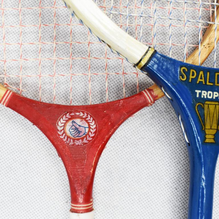 String Vintage Tennis Rackets in Red White and Blue Set of 3 For Sale