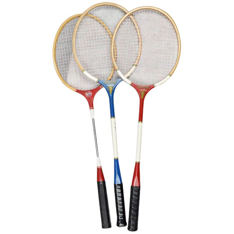 Vintage Tennis Rackets in Red White and Blue Set of 3 For Sale