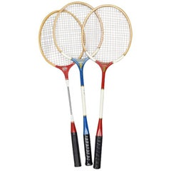 Vintage Tennis Rackets in Red White and Blue Set of 3