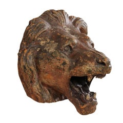 Terracotta Lion's Head Wall Decoration, Attributed to The Ringling Bros., FL.