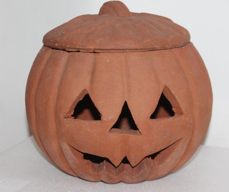 Adirondack Vintage Terracotta Pottery Pumpkin or Jack-o-lantern For Sale