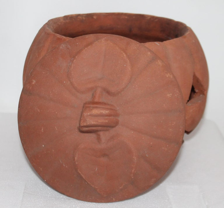 Hand-Crafted Vintage Terracotta Pottery Pumpkin or Jack-o-lantern For Sale
