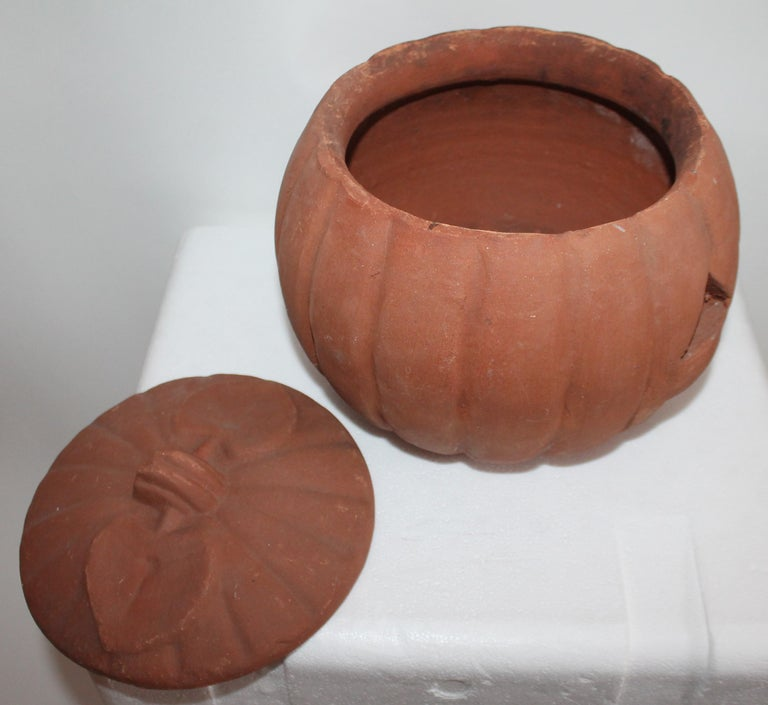 Vintage Terracotta Pottery Pumpkin or Jack-o-lantern In Good Condition For Sale In Los Angeles, CA