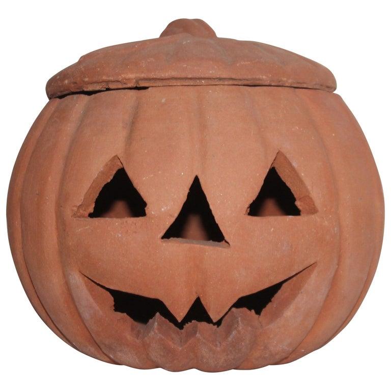 Vintage Terracotta Pottery Pumpkin or Jack-o-lantern For Sale
