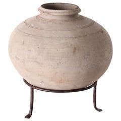 Vintage Terracotta Storage Jar on Stand