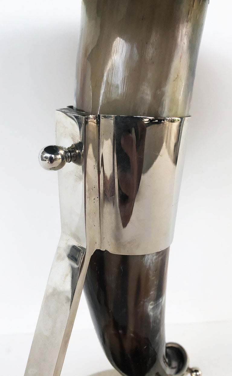 Vintage Tessellated Horn and Chrome Side Table For Sale 1