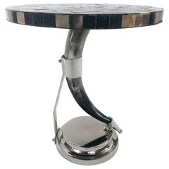 Vintage Tessellated Horn and Chrome Side Table
