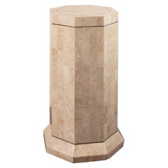Vintage Tessellated Stone and Brass Inlay Pedestal
