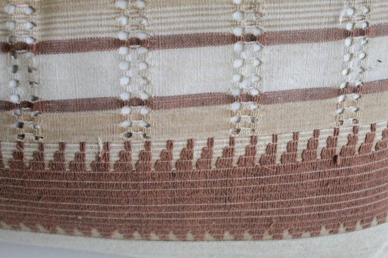 Moroccan Vintage Textile and Belgian Linen Lumbar Pillow