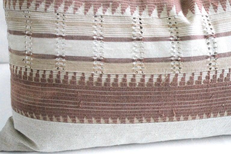 Contemporary Vintage Textile and Belgian Linen Lumbar Pillow