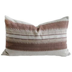 Vintage Textile and Belgian Linen Lumbar Pillow