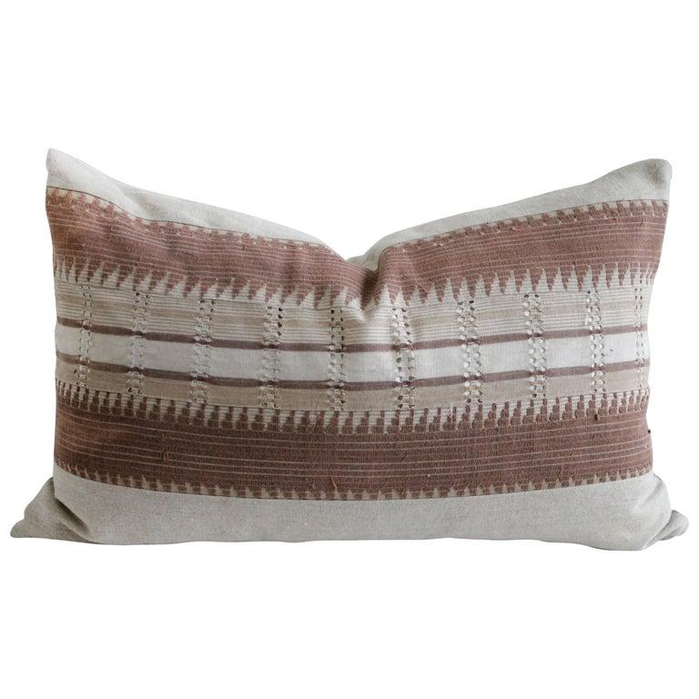 Vintage Textile and Belgian Linen Lumbar Pillow