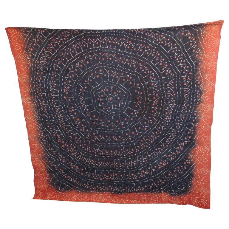 Vintage Textile Asian Shibori Hand-Dyed Orange and Black Textile Panel For Sale