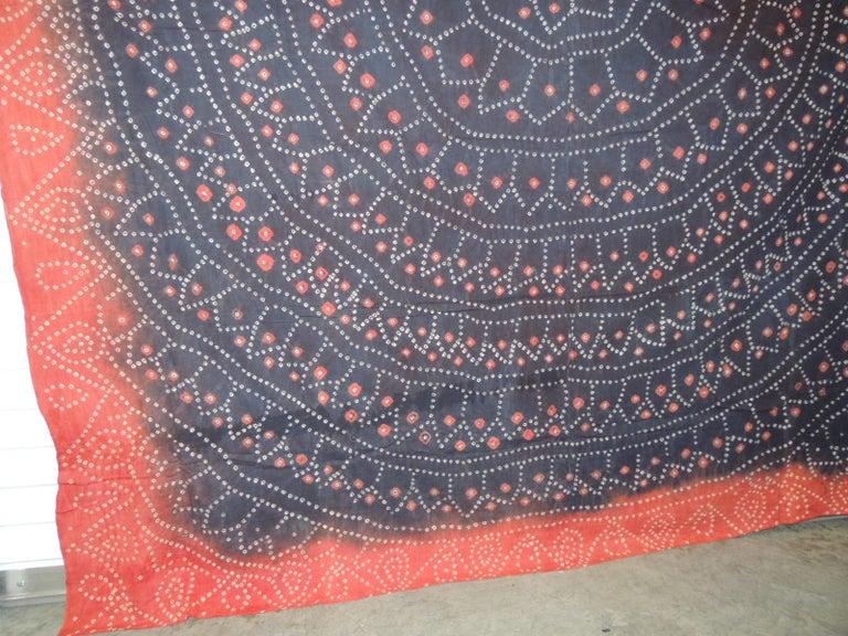 Chinese Vintage Textile Asian Shibori Hand-Dyed Orange and Black Textile Panel For Sale