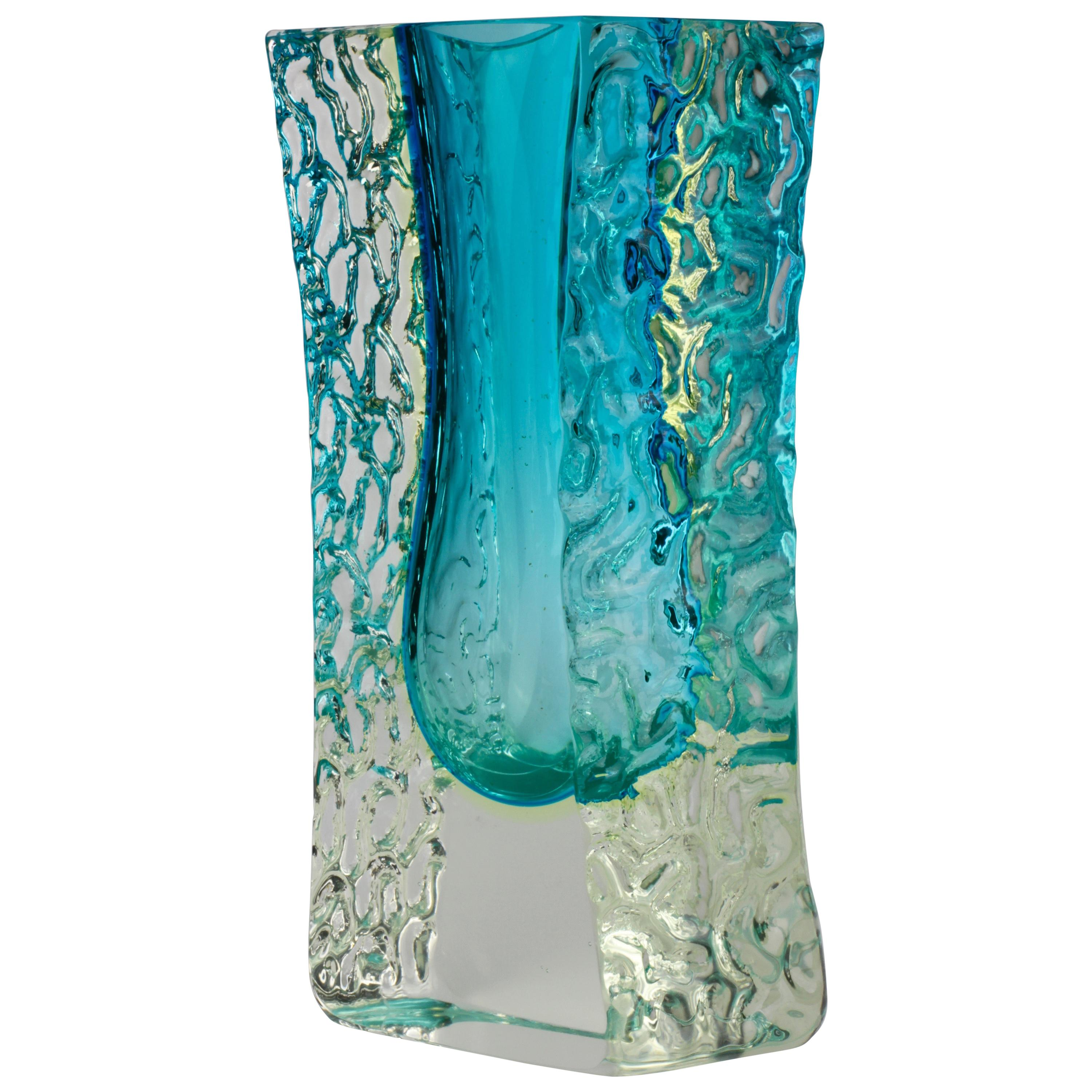 Vintage Textured and Faceted Murano 'Sommerso' Blue Ice Glass Vase