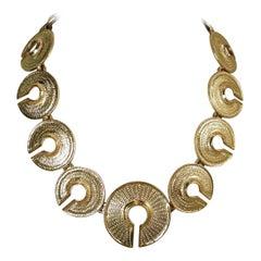 Vintage Textured Circle Link Necklace