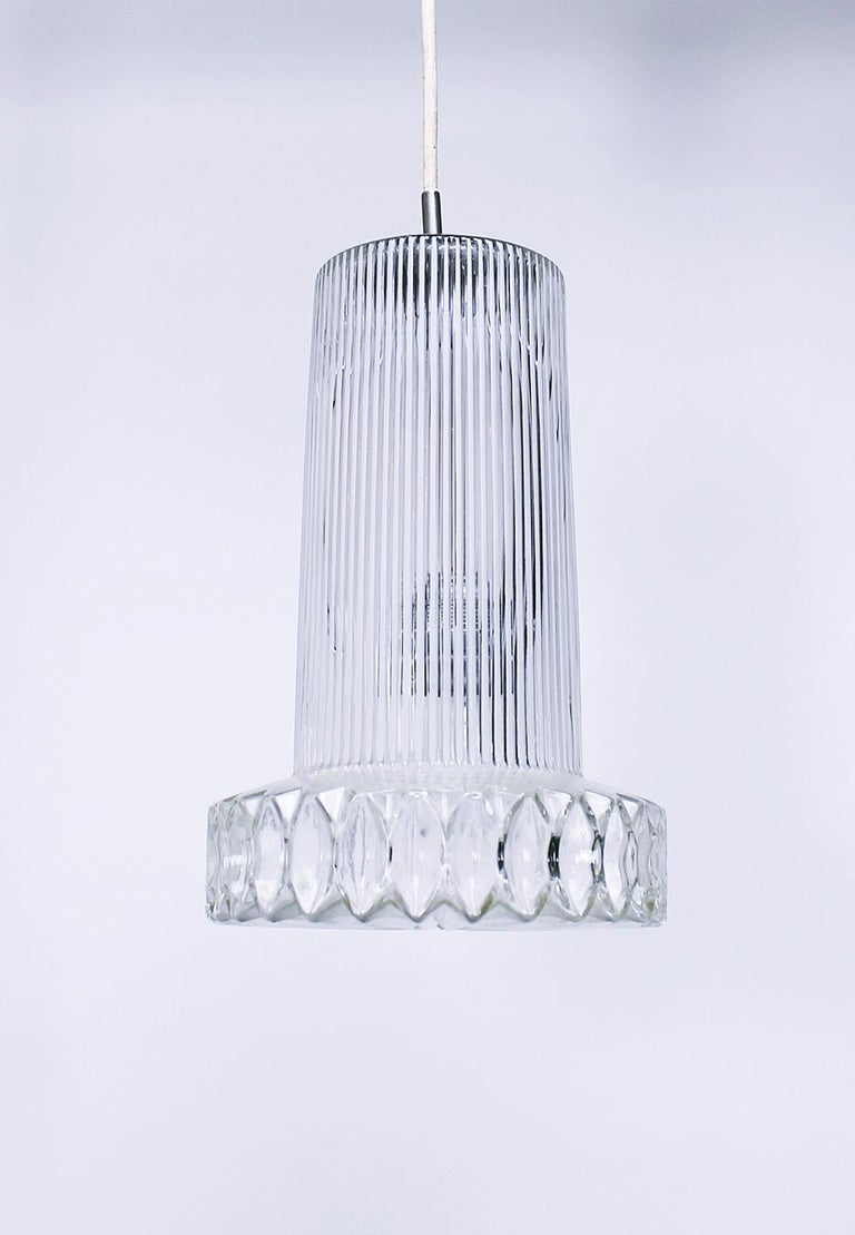 Vintage Textured Glass Pendant Lamp Germany, 1950s In Good Condition For Sale In Debrecen-Pallag, HU