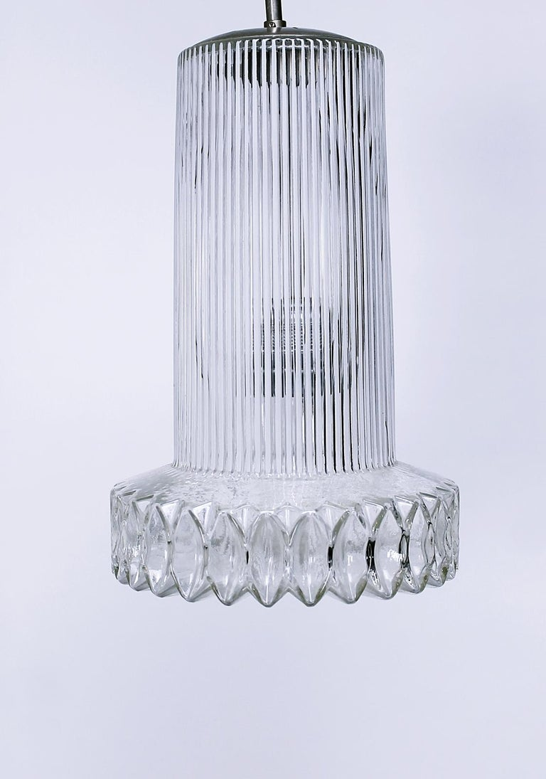20th Century Vintage Textured Glass Pendant Lamp Germany, 1950s For Sale